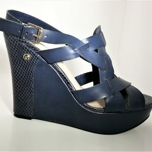 Guess Navy Strappy Wedge Platform Heels